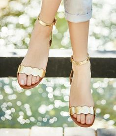 ~~~MUST HAVE! The simple gold scalloped sandals are amazing! Want styles just like these? Click the picture and post to your Pinterest style board to get started with STITCH FIX! Stitch fix april. Stitch fix spring, stitch fix summer. 20-7. #sponsored