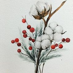 #겨울겨울 #크리스마스 #크리스마스트리수채화  #목화 #목화수채화 Instagram, Watercolor, Photo And Video, Flowers, Plants, Photos, Christmas, Pictures, Watercolor Painting