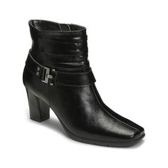 Women's A2 by Aerosoles Common Ground Ankle Boots ($60) ❤ liked on Polyvore featuring shoes, boots, ankle booties, black, low heel ankle boots, low heel booties, short heel boots, black leather ankle booties and black boots