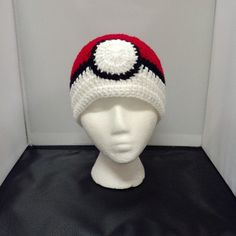 Bobbie Bomber Pokeball crochet beanie now available for purchase over at Geeky Mamas!