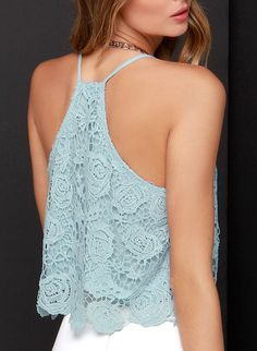 SheIn offers Blue Spaghetti Strap Lace Cami Top & more to fit your fashionable needs. Estilo Fashion, Boho Fashion, Girl Fashion, Lace Crop Tops, Cami Tops, Cute Summer Outfits, Cute Outfits, Mode Crochet, Lace Vest