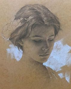 Romel de la Torre (b. 1963), pencil on toned paper {figurative art beautiful female head woman face portrait drawing #loveart}
