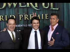 Actors Ted Raimi, James Franco and Bruce Campbell pose for a picture at the premiere of the Disney movie