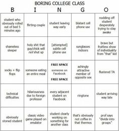 Funny pictures about Boring College Class Bingo. Oh, and cool pics about Boring College Class Bingo. Also, Boring College Class Bingo photos. College Classes, College Humor, College Life, Dorm Life, College Works, Funny College, College Years, Freshman Year, Just In Case