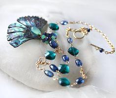 Blue Green Kyanite Y Necklace Chrysoprase Carved Natural Abalone 14K Gold Filled - Pétale de Mer.  #PSIMADETHIS