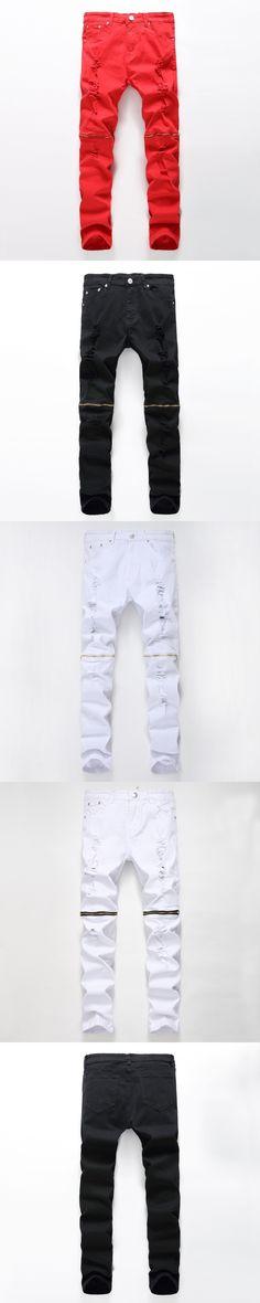 Zipper Hole Ripped Jeans Pants Motocycle Men Black White Red Mens European Stretch Denim Biker Jeans Male Plus Size 36 38 40 42