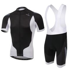 Men's Black and White Short Sleeve Cycling Jersey Set #Cycling #CyclingGear #CyclingJersey #CyclingJerseySet
