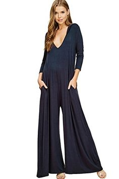26bd0823d68a Annabelle U.S.A Annabelle Women s Comfy 3 4 Sleeve V-Neck Wide Legs Palazzo  Pants