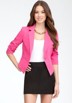 Color that you can throw over anything! bebe high low pink blazer