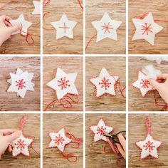 DIY Nordic-Inspired Christmas Decorations - Happy Christmas - Noel 2020 ideas-Happy New Year-Christmas Nordic Christmas Decorations, Felt Christmas Ornaments, Noel Christmas, Homemade Christmas, Diy Ornaments, Beaded Ornaments, Christmas Movies, Glass Ornaments, Christmas Music