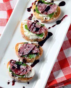 Salami and Goat Cheese Crostini with Pinot Noir Sauce Recipe #blackboxwines