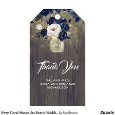 Navy Floral Mason Jar Rustic Wedding Gift Tags