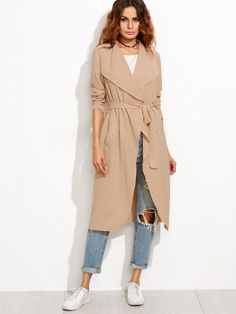 Shop Camel Draped Collar Wrap Coat online. SheIn offers Camel Draped Collar Wrap Coat & more to fit your fashionable needs.