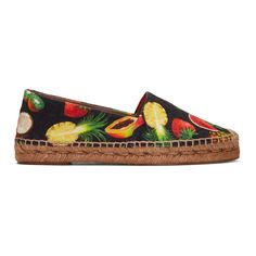 Dolce & Gabbana Black Tropical Fruit Espadrilles