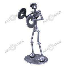 Screws, nuts, and washers mostly make up this musical figure piece, shown here playing the cymbals  $14.99
