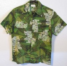 Vintage aloha shirt. Buttons down the front - 2 buttons are missing. The two buttons on the shirt are made of a lightweight plastic or metal. One chest pocket in the left. Made in Hawaii label. Im not sure about the fabric, but its a bit thicker, heavier weight.