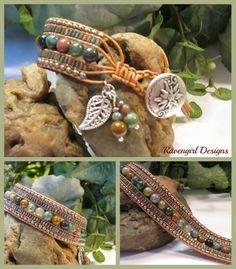 """""""Rain Forest"""" 5 Row Leather Wrap Bracelet Handmade by Ravengirl Designs Order:https://www.Facebook.com/RavengirlDesigns"""