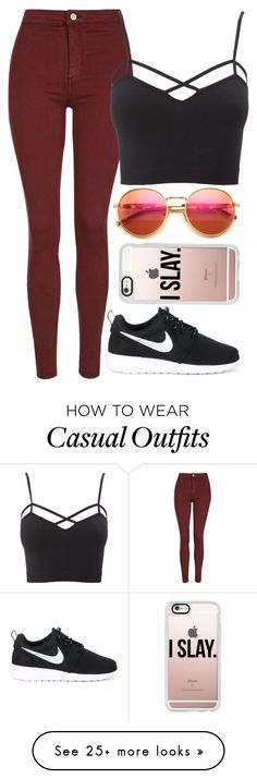 """""""Casual xx"""" by eduardacardoso1999 on Polyvore featuring Topshop, Charlotte Russe, NIKE, Wildfox and Casetify"""
