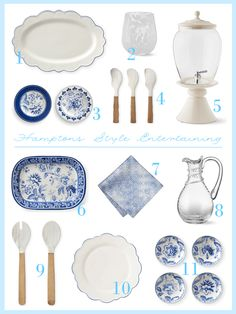 How to get the perfect hamptons look in your home Inspiration Art, Interior Design Inspiration, Hamptons Kitchen, The Hamptons, Beautiful Table Settings, Kitchen Dishes, Beautiful Kitchens, That Look, Blue And White