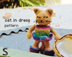 The Cat in a Dress Crochet Pattern   Crochet Cat Pattern   Cat Crochet Pattern   Amigurumi Pattern PDF   Cat Crochet Doll   Dressed Animals
