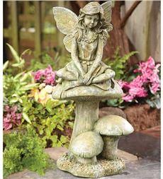 Fairy On Mushroom Statue