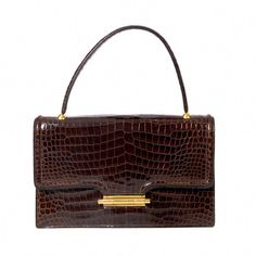 5dd9b59ba204 View this item and discover similar handbags and purses for sale at -  Hermes Vintage model Genuine crocodile porosus. Hermes Paris Gold plated  hardware No ...