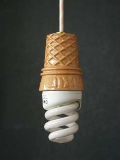 Creative Light, Ice-Cream-Fluorescent-Light-Bulb-Whippy, Jpg, and 512 image ideas & inspiration on Designspiration Vintage Industrial Lighting, Industrial Office, Industrial Interiors, Modern Industrial, Modern Lighting, Lighting Ideas, Industrial Design, Unusual Things, My New Room