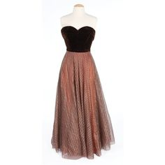 Bette Davis brown velvet gown with chiffon skirt designed by Walter... ❤ liked on Polyvore