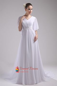Prom Dresses With Chiffon Sleeves, Floor Length Chiffon Evening Dress