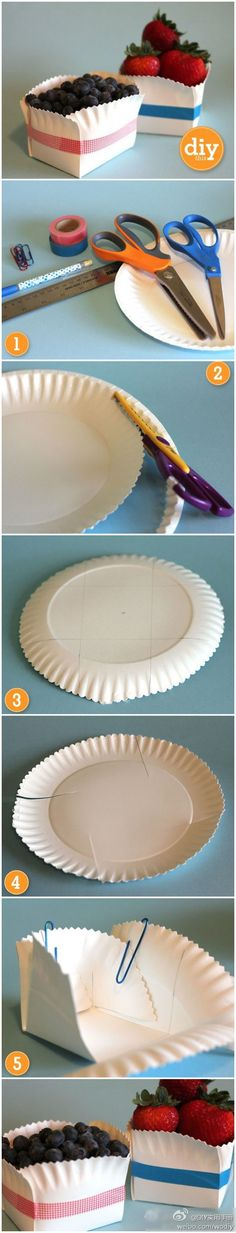 Cute way to make little snack boxes with paper plates. You can customize the color of the ribbon to match your party decor. Simple and no clean up!