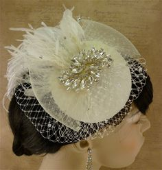 Full Birdcage Veil, Bridal Hat, Ivory, Feather Fascinator - Women's Formal Hats