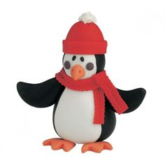 Claydough Penguin with Bobble Hat Christmas Cake Decoration