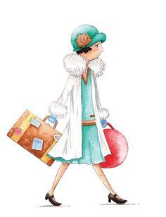 Girl Woman Travel Deco 1920s illustration