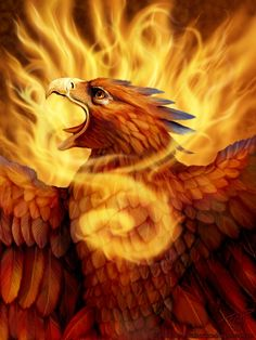 Realistic eyes...instead make them look serene, strong and feminie. Not open mouth either....Phoenix, rising from the flames!