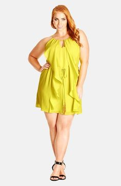 City Chic Waterfall Ruffle Sleeveless Tunic (Plus Size)