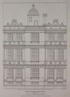 Antique Print - Longleat House, Wiltshire. Elevation of a Compartment in  the South front