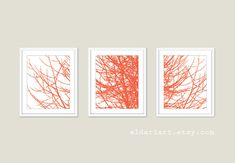 Modern Branches.  A set of 3 prints in the color of your choice.  Available in 5x7 or 8x10 in this listing.  Shown in 8x10 on 8.5x11 paper.  The 5x7 size is borderless.  The paper has a matte finish.  *Frames NOT included.  They look great in IKEA Ribba frames.  HOW TO ORDER: *Please choose a color from the color chart and specify it in the notes to seller at checkout.  Featured color is: - Coral  ---------------------  MORE SIZES AVAILABLE:  11x14…