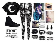 """Emo"" by catherinespider23 ❤ liked on Polyvore featuring Killstar, Converse, Valentino, Chicnova Fashion and Love Quotes Scarves"
