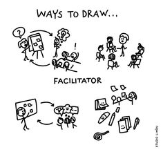 Facilitator: 'Someone who helps a person or organisation do something more easily or find the answer to a problem, by discussing things and suggesting ways of doing things. Word Doodles, Easy Doodles Drawings, Cute Easy Drawings, Simple Doodles, Visual Note Taking, Visual Dictionary, Visual Learning, Stick Art, Sketch Notes