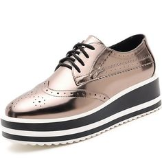 Women Derby Comfort Stylish Platform Creepers Silver Lace up Shoes #oxfordsshoes street style