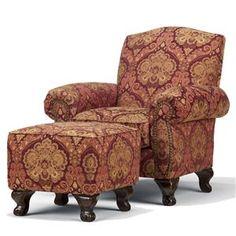 paisley furniture | Crimson Paisley Accent Chair and Ottoman - Zak's Fine Furniture ...
