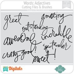 Words: Adjectives Cutting Files & Brushes