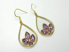 925 Sterling Silver Amethyst Gemstone Vermeil Earrings #jewellery #jewelry #handmade #amethyst #vermeil #fashion #gemstone #crystal
