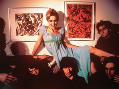 Edie having a laugh with friends (Velvet Undergound, Andy Warhol, and others), 1965. Photographed by Nat Finkelstein -- https://www.theguardian.com/music/2009/apr/19/velvet-underground