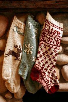 chaussettes de Noël tricotées