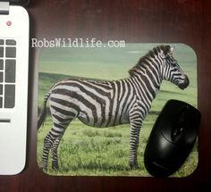 Zebra Mouse Pad, Rob's Wildlife mouse pad, Explore, Explore Africa, Black and White animal print, Cute computer accessories