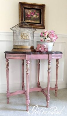 Artisan Enhancements Leaf and Foil Size and Clear Topcoat Sealer along with Bio Savvy Stains were used to create this romantic paint finish by Girl in Pink - Step by step tutorial in linked blog post.