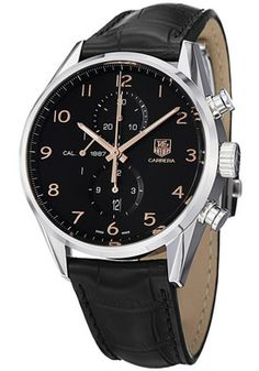 Tag Heuer CAR2014.FC6235 Watches,Tag Heuer Men's Black Dial Black Alligator, Men's Tag Heuer Automatic Watches