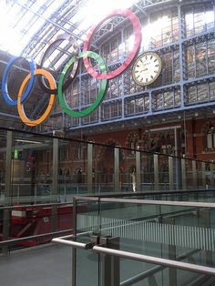 Olympic Rings in St. Pancras Train Station, London, UK.