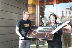 Clark County Commissioner Mary Beth Scow presents Bobby Flay with a Key to the Las Vegas Strip and a County Commission proclamation commemorating the Jan. 24, 2014 opening of his Burger Palace restaurant at City Center. Flay also has residency at the Mesa Grill at Caesars Palace and has ties to Shake Shack at the New York New York Hotel & Casino.